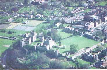 An aerial view of Ludlow Castle